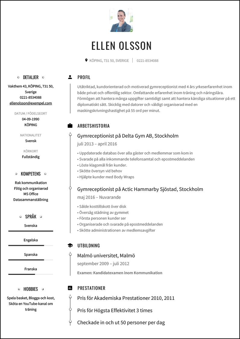 Cv Exempel For Gymreceptionist Cvmall Se