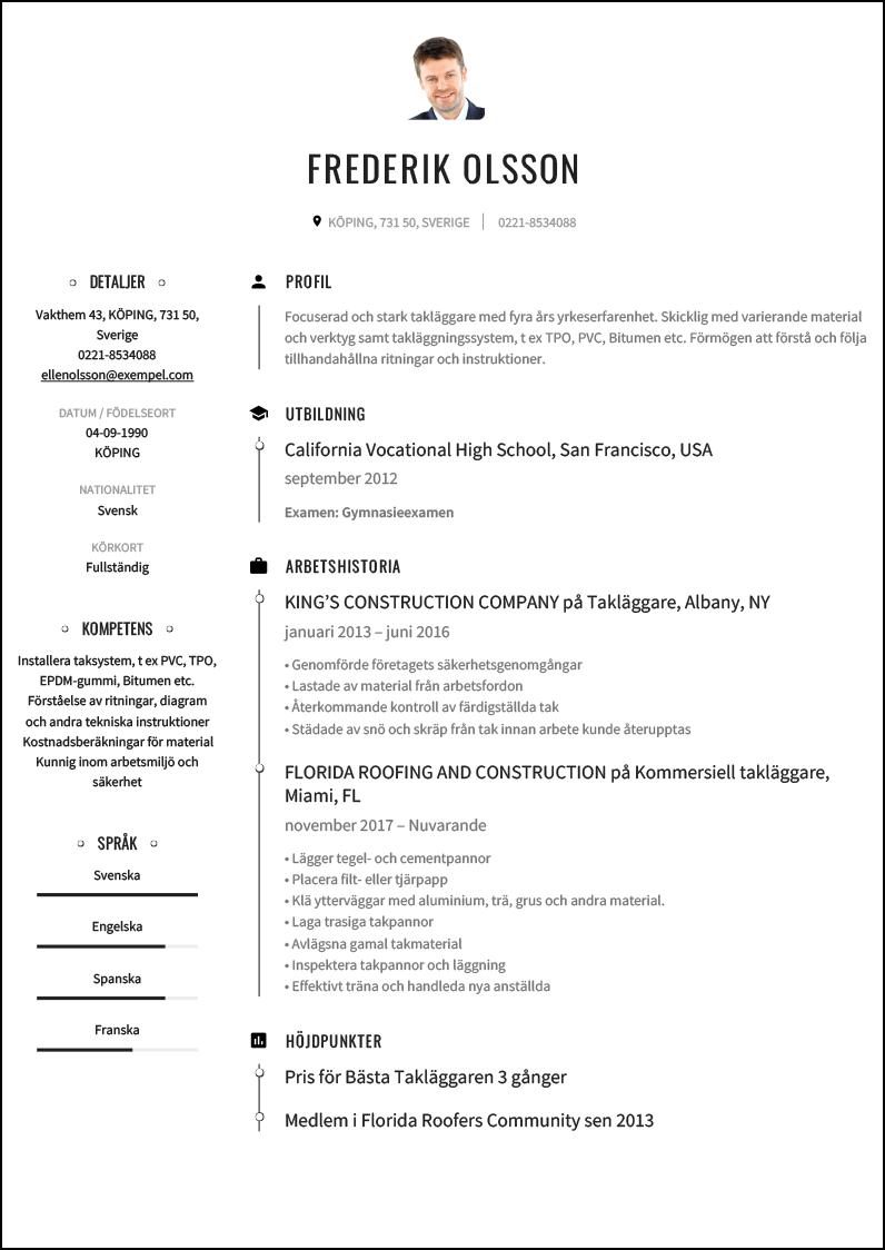 Cv Exempel For Taklaggare Cvmall Se