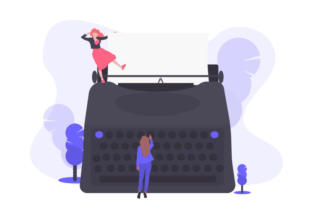 skriva ett personligt brev på en skrivmaskin